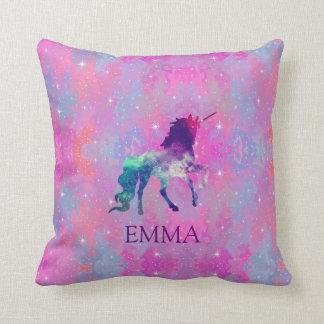 Reversible Pink/Purple Galaxy Unicorn Name Pillow