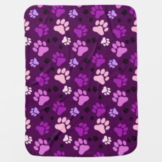 Reversible Purple Paw Print Dog Crate Blanket
