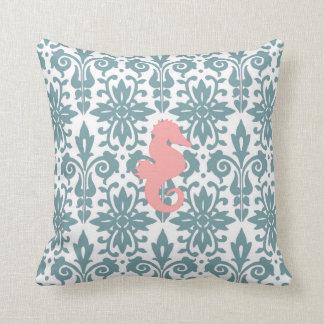 Reversible Seahorse Design Throw Pillow