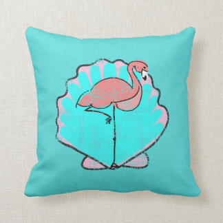 Reversible Tropics Flamingo Sea Turtle Cushion