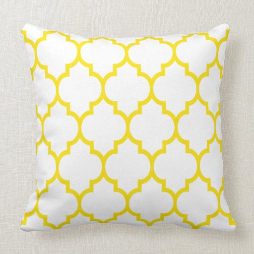 Reversible Yellow And White Quatrefoil Pattern Pillow
