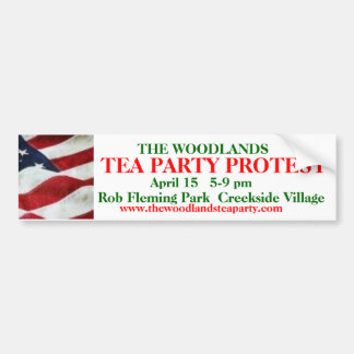 Revised The Woodlands Tea Party b. sticker w/flag Bumper Sticker