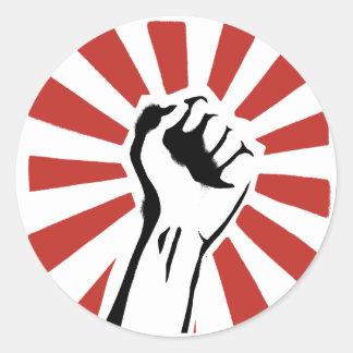 Revolution fist classic round sticker