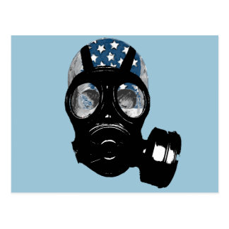 revolution protest gas mask post cards