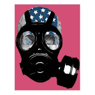 revolution protest gas mask postcard