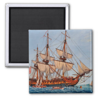 Revolutionary Painting of the Frigate Confederacy Square Magnet