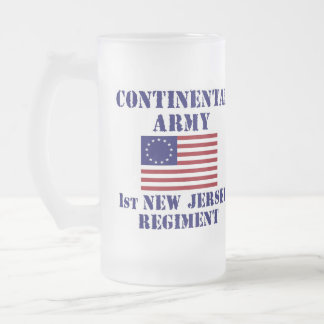 Revolutionary War 1st New Jersey Regiment Glass Frosted Glass Beer Mug