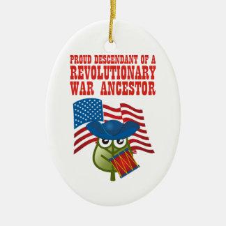Revolutionary War Ancestor Double-Sided Oval Ceramic Christmas Ornament