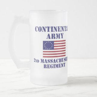 Revolutionary War Massachusetts Regiment Glass Frosted Glass Mug