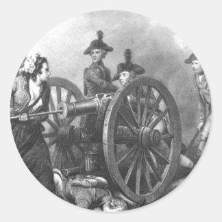 Revolutionary War Molly Pitcher Cannon Round Sticker