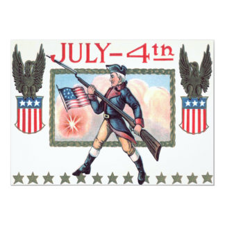 Revolutionary War Soldier American Flag Shield 13 Cm X 18 Cm Invitation Card
