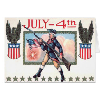 Revolutionary War Soldier American Flag Shield Greeting Card