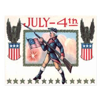 Revolutionary War Soldier American Flag Shield Postcard