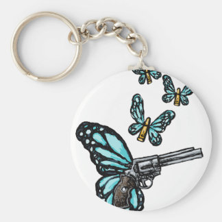 Revolver, Bullets and Butterflies Products Keychain