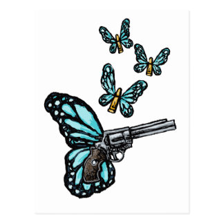 Revolver Bullets and Butterflies Products Post Cards