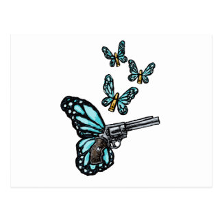 Revolver, Bullets and Butterflies Products Postcard