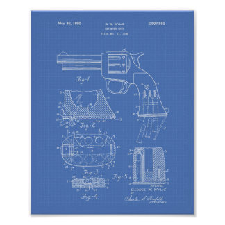 Revolver Grip 1950 Patent Art - Blueprint Poster