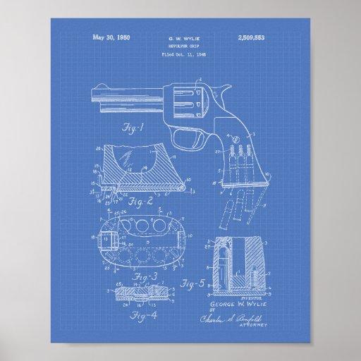 Revolver Grip 1950 Patent Art - Blueprint Poster