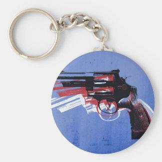 Revolver on Blue Key Chains