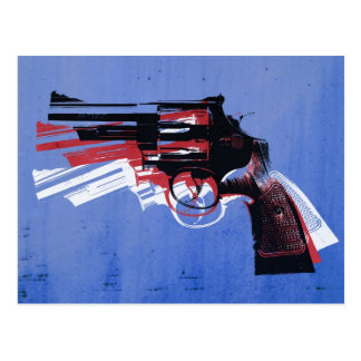 Revolver on Blue Postcard