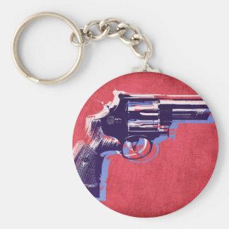 Revolver on Red Keychains