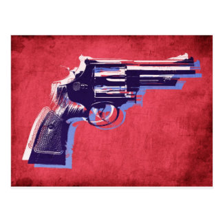 Revolver on Red Postcard