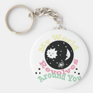Revolves Around You Basic Round Button Key Ring