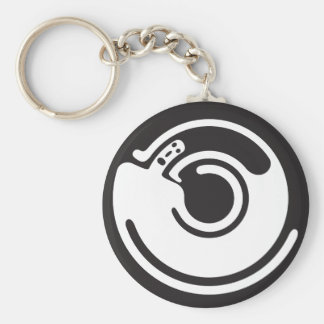 revolving man standing on his own shoulders key chains