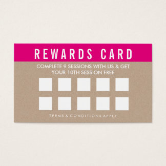 REWARDS LOYALTY CARD bold trendy kraft pink