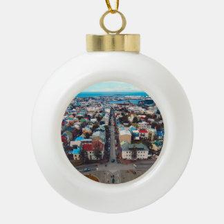 Reykjavik Aerial View Ceramic Ball Christmas Ornament