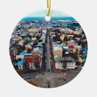 Reykjavik Aerial View Round Ceramic Decoration