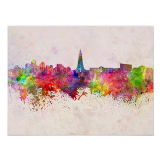 Reykjavik skyline in watercolor background poster