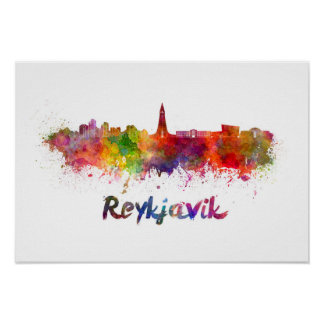 Reykjavik skyline in watercolor poster