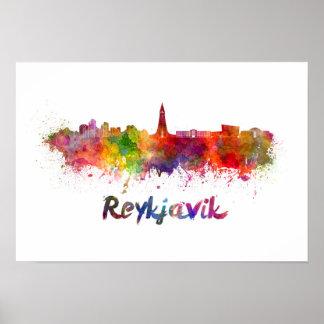 Reykjavik skyline in watercolor poster