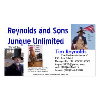Reynolds&Sons Junque Unlimited Bidnis Card Business Card Template