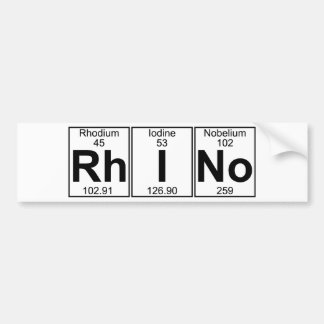 Rh-I-No (rhino) - Full Bumper Sticker