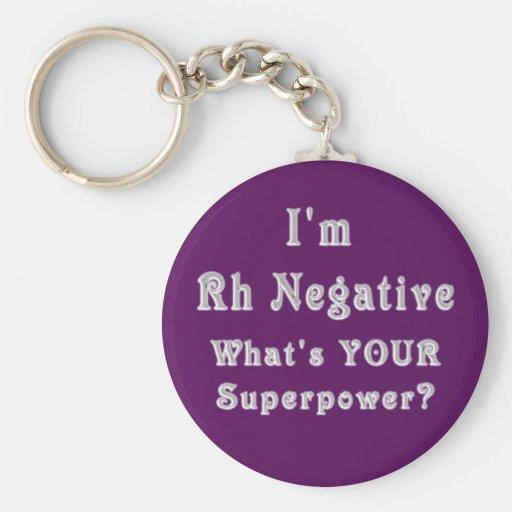 Rh Negative Superpowers Basic Round Button Key Ring