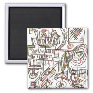 Rhapsody-Abstract Art Geometric Square Magnet