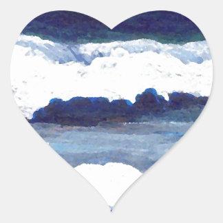 Rhapsody in Blue CricketDiane Ocean Waves Art Heart Sticker