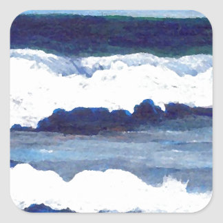 Rhapsody in Blue CricketDiane Ocean Waves Art Square Sticker