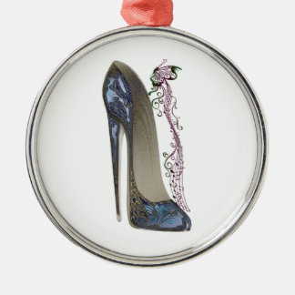 Rhapsody in Blue Stiletto and Butterfly Music Art Christmas Ornament