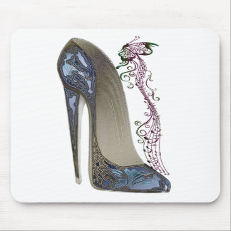 Rhapsody in Blue Stiletto and Butterfly Music Art Mousemat
