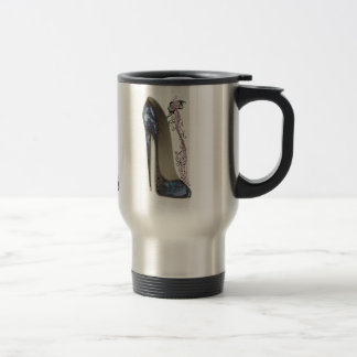 Rhapsody in Blue Stiletto and Butterfly Music Art Stainless Steel Travel Mug