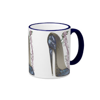 Rhapsody in Blue Stiletto and Butterfly Music Art Ringer Mug