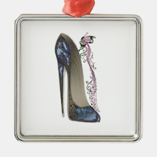 Rhapsody in Blue Stiletto and Butterfly Music Art Silver-Colored Square Decoration