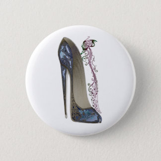 Rhapsody in Blue Stiletto Shoe Art 6 Cm Round Badge