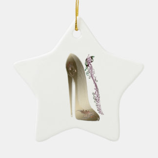 Rhapsody in Gold Stiletto and Butterfly Music Art Christmas Ornament