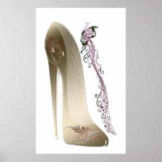Rhapsody in Gold Stiletto Shoe Art Poster