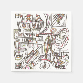 Rhapsody-Whimsical Abstract Geometric Art Disposable Serviette