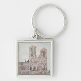 Rheims Cathedral, c.1923 Silver-Colored Square Key Ring